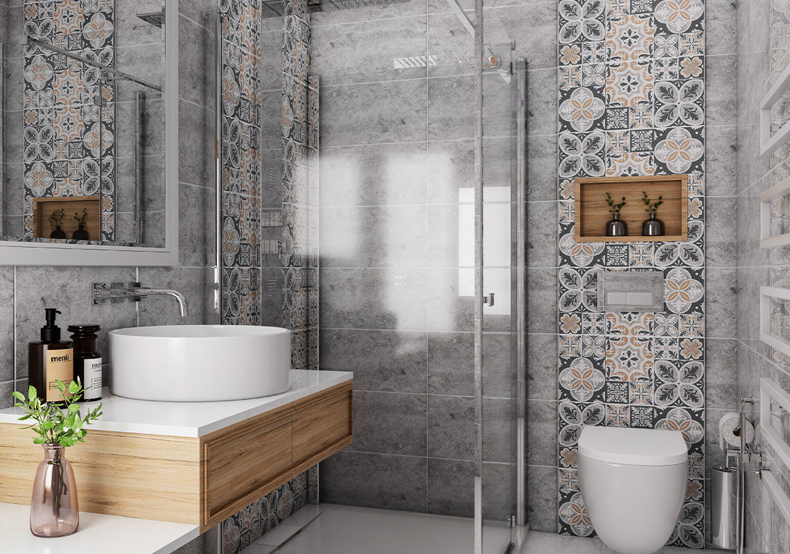 JAVA gris et patchwork 25x50 aspect marbré